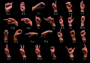 Hand Sign Language Alphabet with black background
